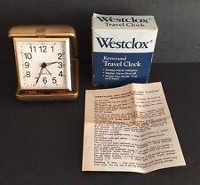 New Westclox Keywound Wind Up Travel Alarm Clock Tan Folding Case NIB