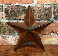 "Set of (4) Tin Metal Americana 8"" Rusty Country Barn Stars"