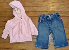 Old Navy Jeans and Full Zip Hoodie Shearling Fleece Lining in Hood Size 6-12 Mon
