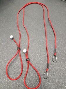 2x RED Kayak Paddle Leash Fishing Rod Holder Bungee Tie Rope Shock Cord Lanyard