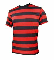 Adult NYC Short Sleeve Punk Goth Emo Costume Striped Shirt Black Red S M L XL