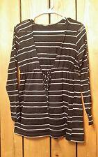 Womens Size S Apt. 9 Long Sleeve Semi-Sheer Hooded Striped  Blouse W / Metallic