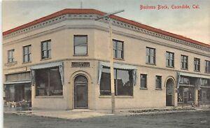 H65/ Escondido California Postcard c1910 Business Block First National Bank 45