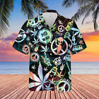 Weed Make Love Not War Hippie Unisex Hawaiian Shirt Full Size S-5XL