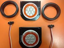 "4"" Round Amber LED Truck Trailer Turn Signal W/ Clear Lens And Mounting Kit"