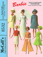 "Vintage McCalls 8532 Barbie Doll Clothes sewing pattern - 11 1/2"" , midge, etc"