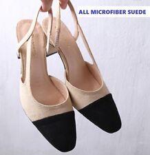 Suede Wide (C, D, W) Solid Heels for Women