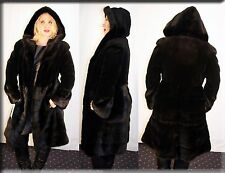 New Hooded Black Sheared Mink Fur Coat Black Mink Trim Size Large 10 12 L