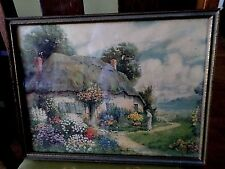 Beautiful Vintage English Cottage and Garden Print In Orig. gold & Green Frame.