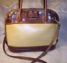 Unique Vintage Dooney & Bourke Cream Tan leather satchel hand bag