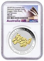 2019P Australia 1 oz Silver Gilt Nugget Welcome Stranger $1 NGC MS70 FR SKU58586