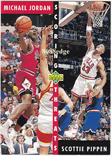 1992-93 UPPER DECK SCORING THREAT #62: MICHAEL JORDAN/SCOTTIE PIPPEN - BULLS HOF