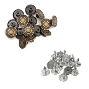 10pcs 17mm Replacement Hammer on Jeans Buttons Denim Brass Studs Jacket Trousers
