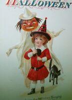 Halloween Postcard Nash Witch Singing Black Cat Antique Original Vintage Unused