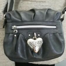 XOXO CROSSBODY BAG DARK GREY  SYNTHETIC LEATHER WITH 28 INCH DROP STRAP EUC