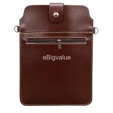 "7"" 8"" Brown Vertical Tablet Messenger Pouch Bag for Samsung Galaxy Tab A"