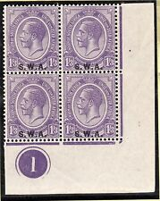 More details for kgv bottom right corner block of 4 control 1 with s.w.a. overprint- violet-mint