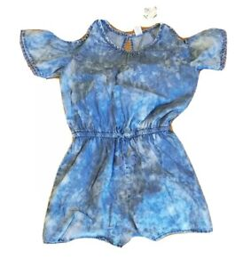 NWT Justice Size 12 Cold Shoulder Tie Dye Chambray Romper