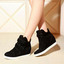 Fashion Women Hidden Wedge Heels Shoes increased High Top Sneakers Shoes USPS