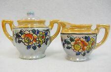 Vintage Lusterware Hand Painted Childs Toy Dish Tea Set Petite Sugar and Creamer