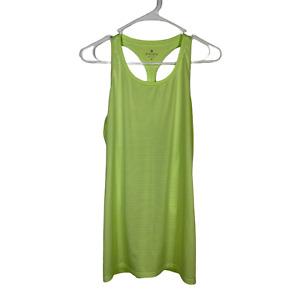 Athleta High Neck Chi Lime Green Stripe Tank Top Women's Medium Active 422982