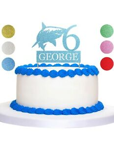 Shark Glitter Cake topper Personalised Happy Birthday Any Age & Name sealife
