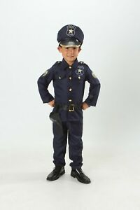 Kids Police officer Costume set Cop Light up Boys/Girls Size T S M 3 4 5 6 7