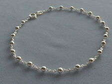 "NEW 9"" ITALIAN STERLING SILVER ANKLE BRACELET -OPEN LINK w/3mm BEADS -ITALY 925"