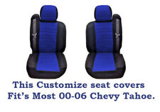 Black/Blue Mesh Fabric Customized seat covers Fit's 00-06 Chevy Tahoe.