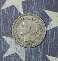 1868 THREE CENT NICKEL. COLLECTOR COIN FOR YOUR SET OR COLLECTION.