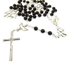 Catholic Silver black glass seven sorrows servite rosary beads holy dove spirit