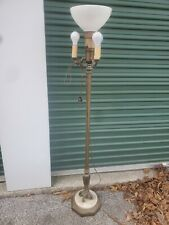 New listing Vintage Antique Ornate Torchiere Floor Lamp Brass Marble Base Glass Shade
