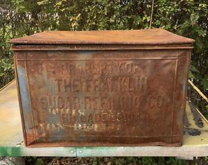 Antique 1900's Franklin Sugar Refining Co USA Store DISPLAY TIN BOX BIN #1417