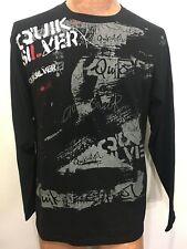 Quiksilver Mens M Black Signature Long-Sleeve Cotton T-Shirt