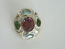 Vintge Panetta Faceted Cabochon Red Green Amethyst and Paved Crystal Pendant