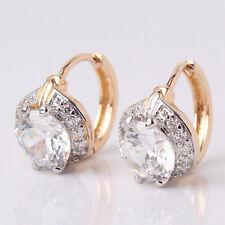 Smart Chic White Topaz earring 18k gold Platinum filled lady cute hoop earring