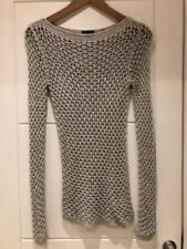 Theory Grey Perforated Loose Knit Sweater Jumper Tunic P XS S Small