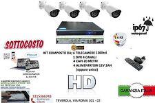 KIT VIDEOSORVEGLIANZA 4 TELECAMERA BIANCHE INFRAROSSI DVR  ALIMENTATORE HD 500GB