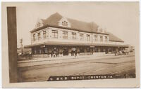Real Photo Postcard C. B. & Q. Railroad Depot in Creston, Iowa~105628
