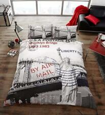 POST CARD New York Premium Bed Set with Duvet Cover and Pillow Cases Double
