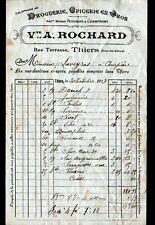 """THIERS (63) EPICERIE DROGUERIE """"CHAMPROMY / Vve A. ROCHARD Succ"""" Facture en 1917"""