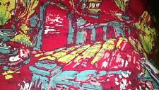 """Picture Scene Fabric Panel Street Lamps Victororian Horse Carriage 29""""x2 1/2 yd"""