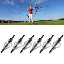6x Heads Arrows Hunting Archery Broadheads 100 Grain 3 Blade Broad Arrow EF