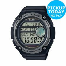 Casio Men's Black Resin Strap/Case Grey Dial World Time Digital Watch