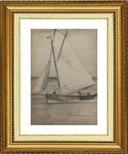 CHARLES WISLIN (1852-1932) SUPERBE MARINE A TREPORT EN NORMANDIE 1879 (1211)