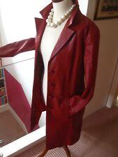Ladies BARISAL red leather JACKET BLAZER COAT UK 12 long line boyfriend oversize