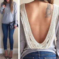 Womens Sexy Backless Long Sleeve Shirt Casual Loose Ladies Blouse Tops T Shirt