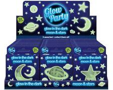 24 x Glow In The Dark Plastic Stars Moon Fun Ceiling Wall Art Space Stickers