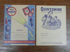 2 x PROTEGE CAHIERS PUBLICITAIRES ANCIENS (BUVARD) QUINTONINE PILE WONDER