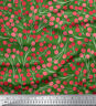Soimoi Fabric Red Berries Fruits Print Fabric by the Meter-FT-547C